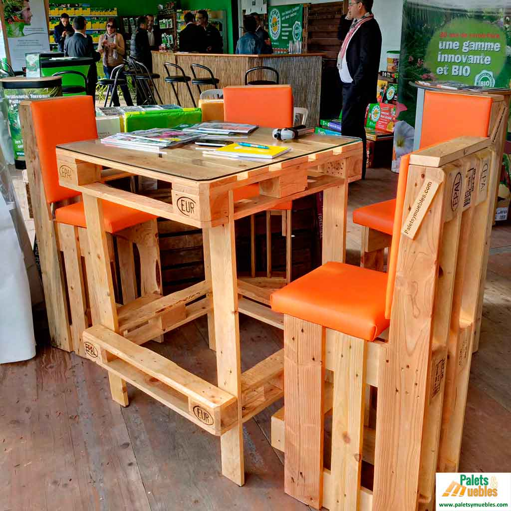 Sillas y mesa alta palets y muebles - Mesas con palets ...
