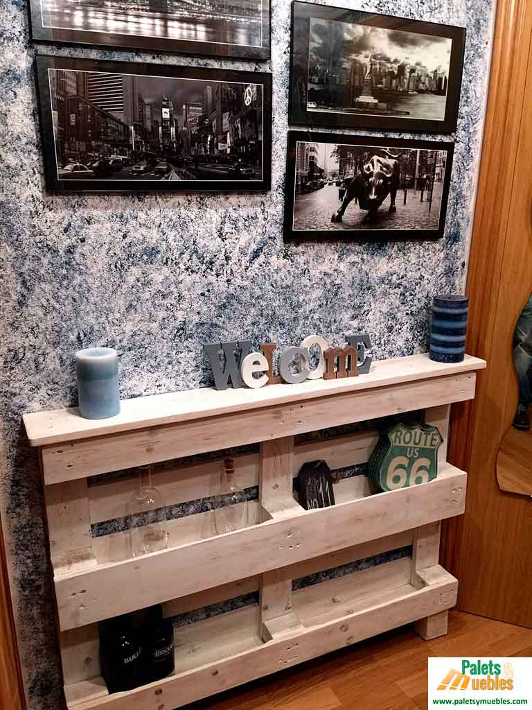 Mueble recibidor hecho con palets palets y muebles for Muebles hechos con melamina