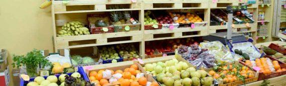 Mobiliario con palets para frutería