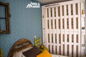 dormitorio, armario con palets palets y muebles