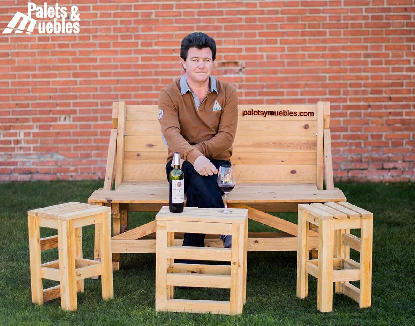 Mesa banco de palets reciclados palets y muebles for Muebles de palets reciclados